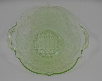 Debbra Apple Green Depression Glass Bowl by Lancaster Glass Company Vintage 1933 Uranium Glass Floral Tabbed Handle Glass Bowl