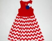 4th of July dress**Red white blue dress**Independence day dress**Red chevron dress**Toddler girl dress**Patriotic dress**USA dress**On sale