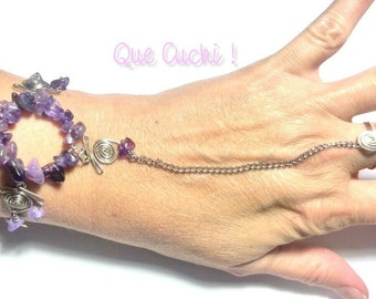 Bracelet / ring with Amethyst chips