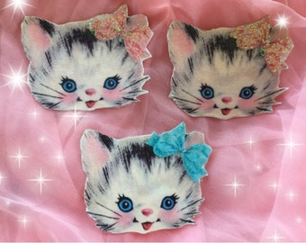 3 BETSY the KITTY CAT Retro Vintage Kitten Refrigerator Magnets Locker File Cabinet Kitschy Whimsical Shabby Chic Party Favors Gift Idea