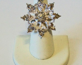 Extra Large Statement Intricate Rhinestone Snowflake Winter Ice Snow Fashion Ring Adjustable Band