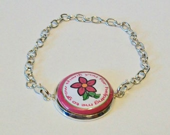 New Pink Flower Thank You for Helping Me Grow Teacher Silver Chain Fashion Bracelet