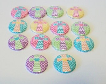 Set of 14 Spring Pastel Colors  Chevron Cross 1 Inch Flat Back Embellishments Buttons Flair