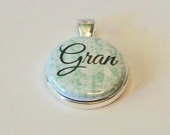 Pale Green and White Damask Floral Gran Grandmother Round Silver Pendant