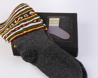 "Latvian Socks DIY Pattern knitting kit ""Knit like a Latvian"" Anthracite grey Dark gray"