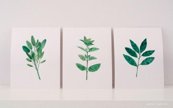 Watercolor Herb Prints: Sage, Mint, Bay Leaf