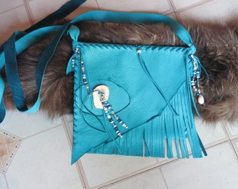 """Fringed Turquoise Deerskin Purse with Beads, 9"""" Wide x 7.5"""" High"""