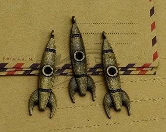 10pcs 15x50mm  Rocket Charms, Antique bronze Rocket Charms Pendant, Missile Charms