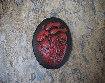 1pc 40x30mm Gothic Vampire RED Anatomical HEART Unset Cameo © TU