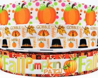 "1"" & 7/8"" Fall-Thanksgiving-Halloween-Pumking-Gobble-Tukey-Printed grosgrain ribbon hair bows supplies- Craft Supplies"