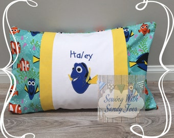 Kids Pillow, Finding Dory Inspired Travel Pillow case, Personalized Finding Dory, Fish Pillow Cover, Kids Bedding, Finding Dory, Fish Beddin