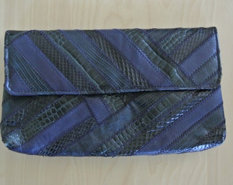 1980s Snakeskin Clutch Navy Blue by David Mehler Miami Vintage Cocktail Handbag