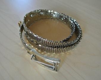 Whiting and Davis Gold Metal Mesh Belt Metallic S/M