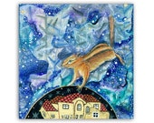 """Chipmunk Dreams 5x5"""" card - Chipmunk on wintry night sky in a fantasy world, dreaming with gold leaf house and stars"""