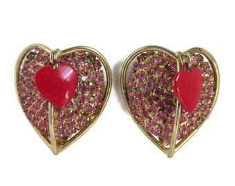 Vendome Heart Earrings, Vintage Pink Rhinestone, Red Enamel Double Heart Clip-on Earrings