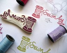 Sew Rubber Stamp, Sewn By, Hand Carved Rubber Stamp, Needlework, Cotton and Needles