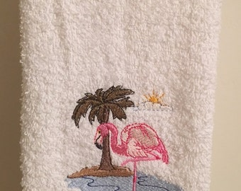 Embroidered ~FLAMINGO in the SUN~ Kitchen Bath Hand Towel