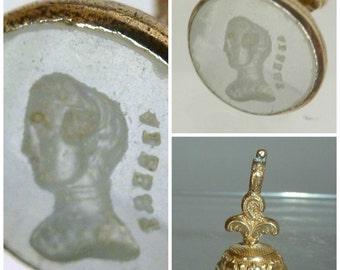 Victorian gilt metal Intaglio Seal Fob Prince Albert