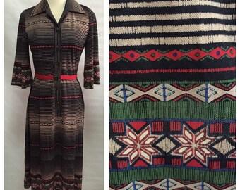 Vintage Boho Bell Sleeve Printed Dress/ s-m