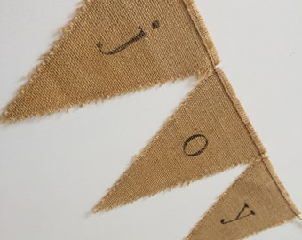 joy bunting on hessian burlap bunting