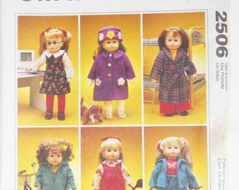 """1990's Doll Clothes Sewing Pattern For 18"""" Dolls Sleepwear Active Wear And Outewear UNCUT McCall's 2506 Craft Sewing Pattern"""