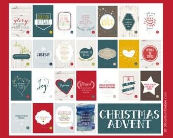 Christmas Advent Calendar // Version 2 // Scripture Based // Bible Advent // 25 4x6 INSTANT DOWNLOAD PRINTS