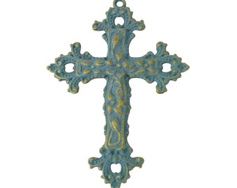 3 pcs - Ornate Large Gold Cross Pendant with Turquoise Oxidation 76x55mm - Ships from Texas by TIJC - SP1246