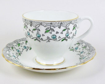 Vintage Bone China Tea Cup Blueberries English 6 oz Footed Staffordshire England