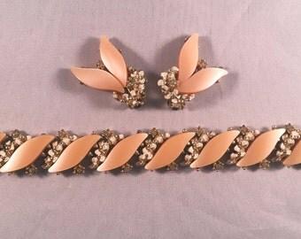 Vintage Peach Moonglow Rhinestone Bracelet Earrings Set