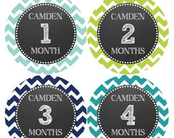 PERSONALIZED Baby Boy Month Stickers Monthly 12 Month Sticker Monthly Baby Stickers Baby Shower Gift Photo Prop Milestone Sticker 510