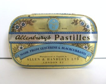 Vintage Allenburys Pastilles Tin - by Allen & Hanbury's Ltd. England