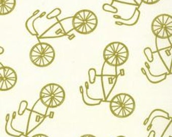 Bikes in Cream and Green (Canvas Fabric) from the Lucy's Crab Shack collection for Moda