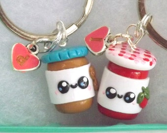 Best Friend Keychains - Peanut Butter Jelly Best Friends -  Funny Friend Gift - Funny Matching Keychains - Customizable BFF Keychains