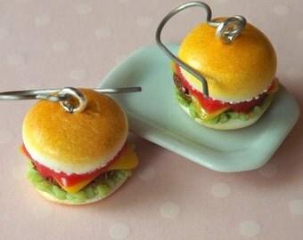 Hamburger Burger Earrings - Cheeseburger Earrings - Miniature Food Jewelry - Polymer Clay Food - Titanium Earrings - Food Dangle Earrings