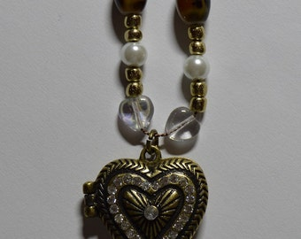 Brown & Gold Bead Locket Necklace