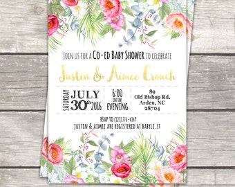 co ed baby girl baby shower invitations, watercolor floral tropical garden custom colors, digital files