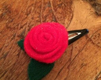 Felt Rose Hair Clip with Petals