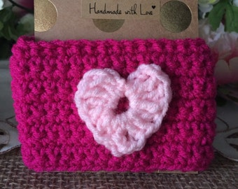 SAVE 25% off! Coffee Cozy | pink with light pink heart