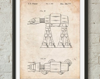 Star Wars AT-AT Imperial Walker Patent Poster, Empire Strikes Back, Starwars Decor, Movie Wall Art, PP224