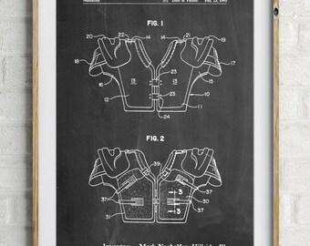 Football Shoulder Pads Patent, Football Decor, Sports Decor, Football Art, Football Coach Gift, PP0829
