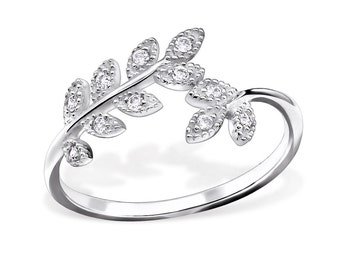 CZ Olive Branch Leaves Ring 925 Sterling Silver - Size 5 - RG8541