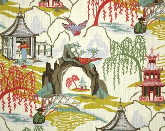 SHIPS FAST Robert Allen Neo Toile Coral Fabric, Coral Asian Pagoda Home Decor Fabric, Chinoiserie Drapery Fabric, Neo Coral - By the yard