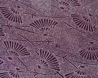 Japanese fans /Purple /Komon/Vintage Japanese Silk Kimono fabric