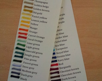 Colour Sampling card for Soutache braid available in my shop