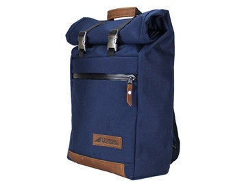 Navy Blue w/ Tan Leather Roll Top Backpack with side pockets