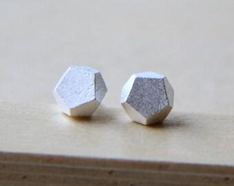 Sterling Silver rock stud earrings. Everyday Earrings
