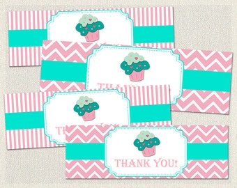 Pink Goodie Treat Bag Toppers Birthday Cupcake Aqua 1st 2nd 3rd Printable Girl IV-6
