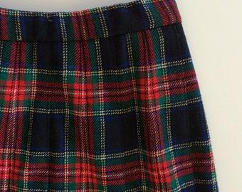 Pendleton Tartan Plaid Skirt - Pleated - Vintage Black Stewart Tartan Wool - Preppy Classic Pattern - Red Blue Navy Black Green -  Preppy