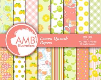 Pink Lemonade Digital Papers, lemon paper, Lemonade paper, Picnic Paper, lemon theme scrapbook pages, for your projects, AMB-1330