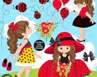 Ladybug clipart, Little Ladybug girls clipart, red summer ladybug dresses, Fashion girls, commercial use, AMB-1056